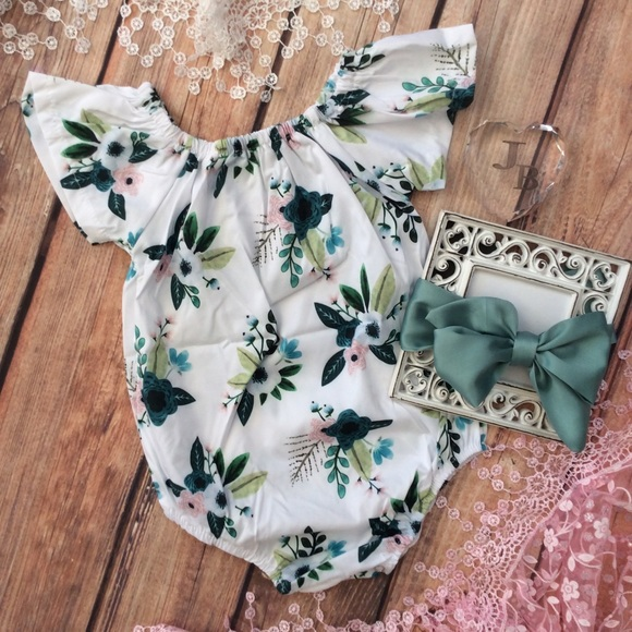 f4aa3233a510 Boutique Baby Girl Romper   Head Wrap